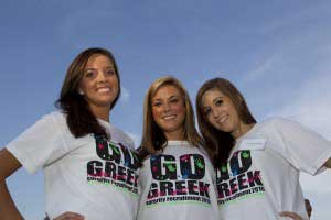 Sorority sisters with go greek tshirts on