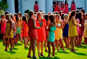 Girls recruiting sorority members
